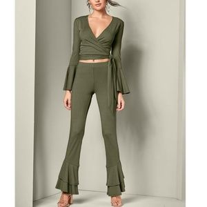 VENUS Olive Ribbed Flare Crop Top and Pant Set